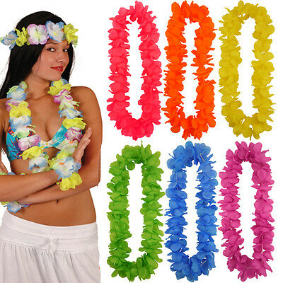 Hula Hawaiian Girl Bright Colourful Leis Necklace Flower Strings Summer Party