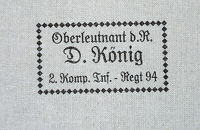 German style  WW2  or WW1    Laundry label   white      - in German language -
