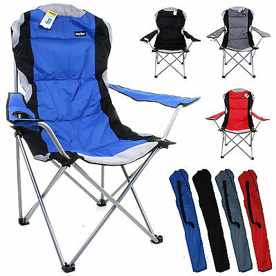 Heavy Duty Camping Chair Luxury Padded Folding High Back Directors W/ Cup Holder