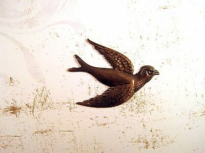 Large Antiqued Brass Flying Bird (1) - ANTRAT167NR Jewelry Finding