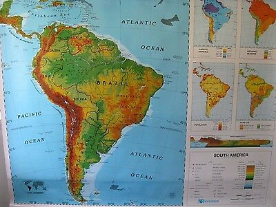 NEW nystrom pull down school map, south america, one layer map, great condition