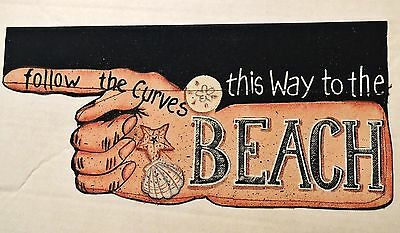 This Way To The Beach Canvas Flag Finger Pointer Nautical Shell 2 Sided New 12""