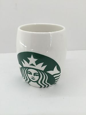 Starbucks White Porcelain Barrel Mermaid Logo Coffee Mug 14oz 2010