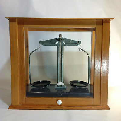 Vintage Scientific Balance Scales in Beautiful Wood & Glass Case