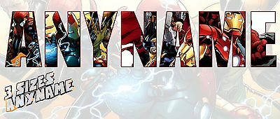 Personalised Marvel Wall Stickers Decal Avengers Name Kids Xmas Gift *3 SIZES*