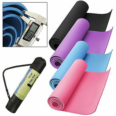 AMOS Yoga Mat Exercise Fitness Workout Pilates Gym Camping 6mm Thick Non Slip