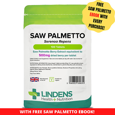 Lindens Saw Palmetto Extract 500mg 3-PACK 300 Tablets Serenoa Repens Men's Herb