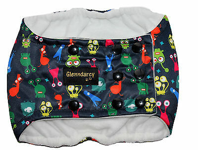 Medium - Poppers Dog Belly Band Nappy - Waterproof + 2 Washable Pads - Monsters