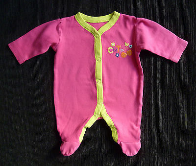 "Baby clothes GIRL newborn 0-1m George pink/green ""cutie"" babygrow SEE MY SHOP!"