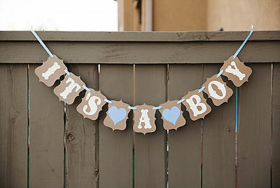 It's A Boy Baby Shower Bunting Party Banner Garland Photo Props Decor Sign