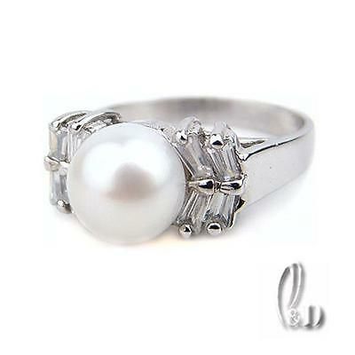 Chic Gorgeous Genuine White pearls Sparkling Ring AU SELLER 09022-1