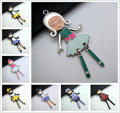 Hit color Alloy enamel Swing Girl Charm Pendant For Bracelets Necklace making