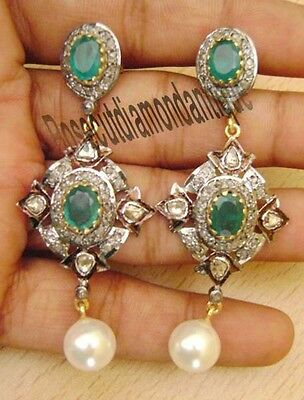 1.24ct ANTIQUE ROSE CUT DIAMOND SILVER 925 POLKI EMERALD PEARL AMAZINGS EARRINGS