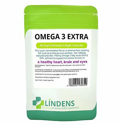 Lindens Omega 3 Fish Oil Extra 1000mg 90 Capsules Concentrated High Strength