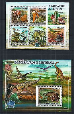 SAO TOME AND PRINCIPE 2009 SHEET BLOCK SET MiNr: 4103 - 07 ** MINERALS DINOSAURS