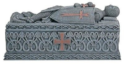 Medieval Knight Templar Coffin Jewelry Trinket Box Container Collectible Statue