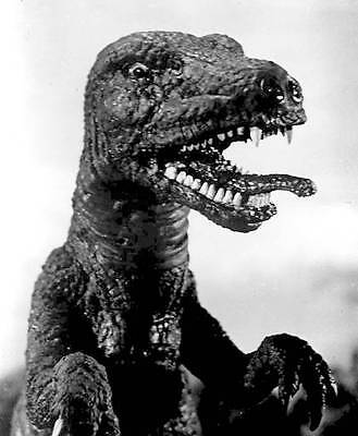 1956's THE BEAST OF HOLLOW MOUNTAIN Allosaurus sticks out tongue b/w 8x10 scene