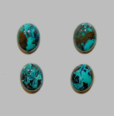Chrysocolla Cabochons 9x7mm from Peru set of 4 (9157)