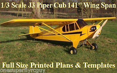 """Piper J3 Cub 141"""" WS Giant Scale RC Airplane PRINTED Plans & Templates"""