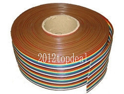 2M 3.3ft 40 Way 40 pin Flat Color Rainbow Ribbon IDC Cable Wire Rainbow Cable