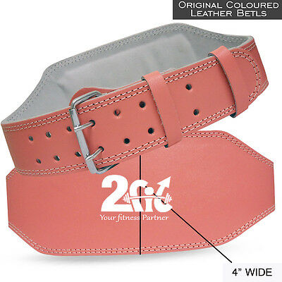 """RAD Pink Leather Belt 4"""" Gym Power Weight Lifting Back Support Body building"""