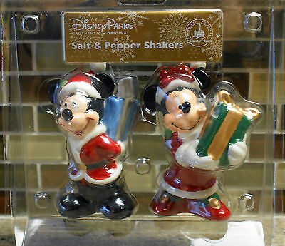 New Disney Parks MICKEY & MINNIE MOUSE Christmas Salt & Pepper Shakers