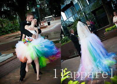 2015 Stylish Rainbow Colored Wedding Dresses Halter Sleeves Lace Up Bridal Gowns