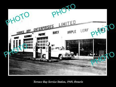 OLD LARGE HISTORIC PHOTO OF TERRACE BAY ONTARIO, THE SERVICE STATION c1929