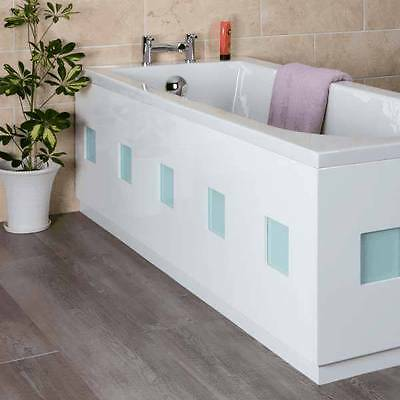 White Frosted Square Bath 1700mm Front Bath Panel