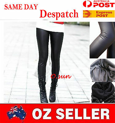 Black Women Faux Leather Look Stretch Leggings WARM WINTER THICK Shiny PANTS P18