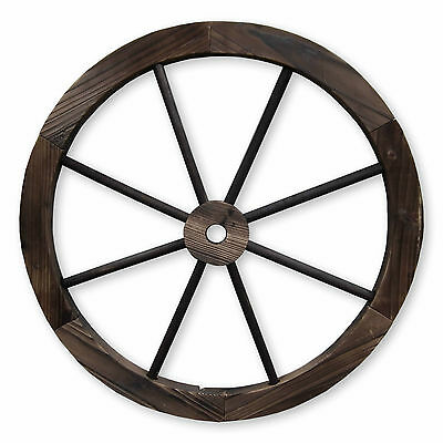 60Cm Decorative Burntwood Garden Cartwheel Ornamental Wooden Cart Wagon Wheels