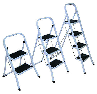 Strong 2 3 4 Folding Step Ladder Non Slip Matt Stepladder Kitchen Loft Safety