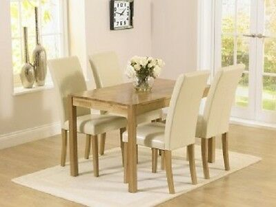 Oskar Oak Furniture 120cm Dining Table Set and 4 White Leather Chairs