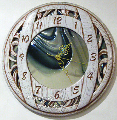 Round wall clock with blue glass carved wood original design stylish best watch