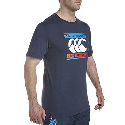Tee shirt rugby retro logo canterbury Marine  Neuf Taille L
