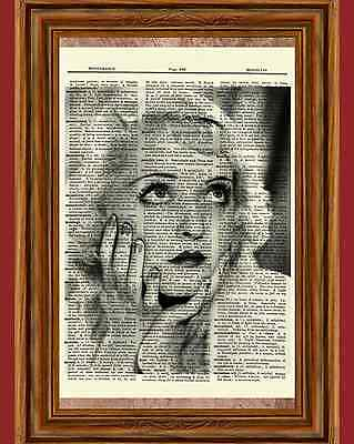 Bette Davis Portrait Dictionary Art Print Book Page Picture Betty Wall Poster