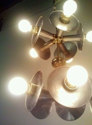 Vintage Repurposed Atomic Ufo Space Chandelier Light Fixture Sputnik Satellite