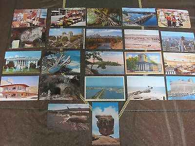 Vintage Lot of 22 Mix Postcards From 50s 60s Used Chrome
