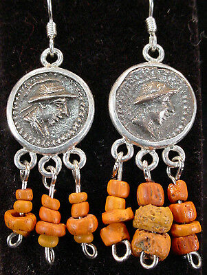 PAIR OF BACTRIAN EARRINGS, COIN AND GLASS BEADS, #e3975