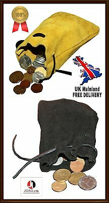Medieval/Larp/SCA/Pagan/Reenactment DRAWSTRING MONEY POUCH/BAG/  BLACK & BEIGE