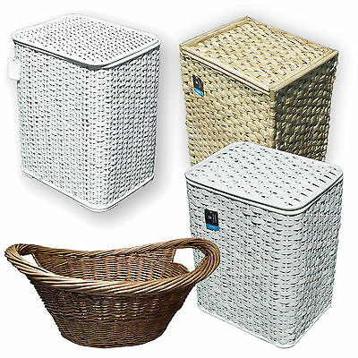 Bamboo Seagrass Wicker Laundry Basket Lid White Woven Clothing Washing S M L