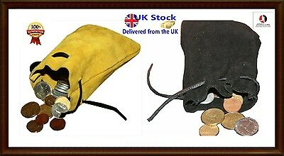 Medieval/Larp/SCA/Pagan/Reenactment DRAWSTRING MONEY POUCH/BAG//BLACK & BEIGE