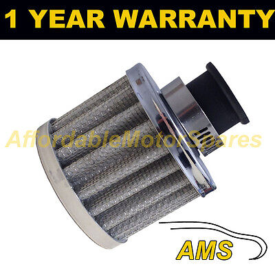 12mm MINI AIR OIL CRANK CASE BREATHER FILTER FITS MOST CARS SILVER ROUND