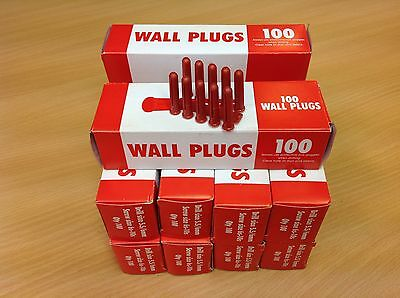 1000 Red Rawl Plugs Drill size 5.5/6mm Screw size 6-10 Free Post Great price!!