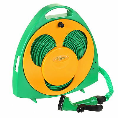 15M 50Ft Flat Hose Pipe Reel Kit With Storage Dial Spray Gun Nozzle Watering