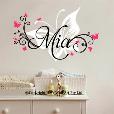 Custom Personalised Name Butterflies Wall Sticker Nursery Decal Art Mural Decor