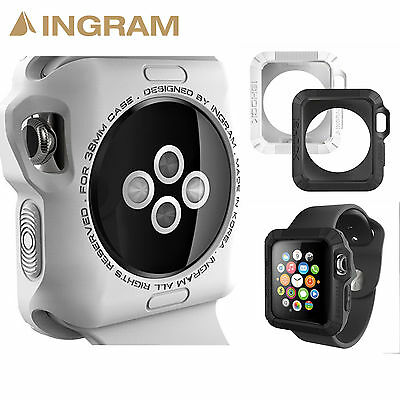 Ingram Apple Watch Case iSHOCK Protective Cover 1+1 Color Set [38mm,Black+White]