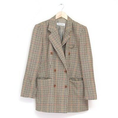 True Vintage 1980s 80s Checked Tweed Country Blazer Jacket Small Medium UK 10 12