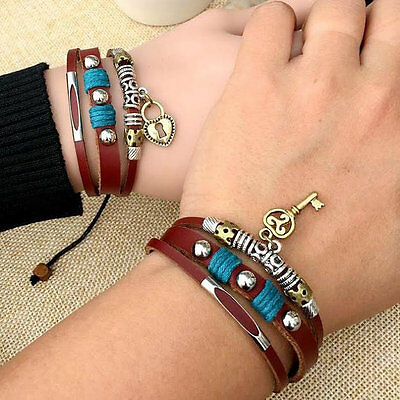 Leather Bracelets for Couples Lock and Key Charm, Valentines's Day Gift CP-369