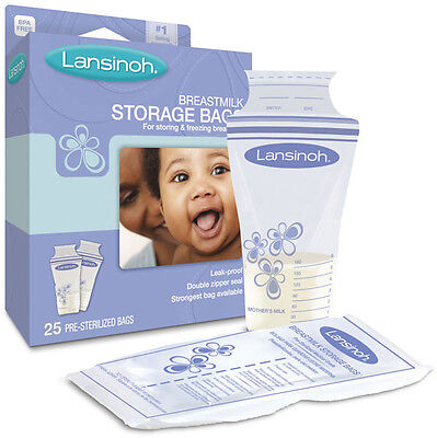 Lansinoh BPA Free Breastmilk Pre-Sterilized Storage Freeze Bags 25, 50 or 100 Pk